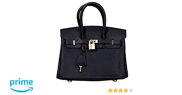 276f9a0c6f Amazon.com   VIDENG POLO Padlock Handbags Genuine Leather with Gold  Hardware Tote Shoulder Bag for Women (25-Black)   Sports   Outdoors