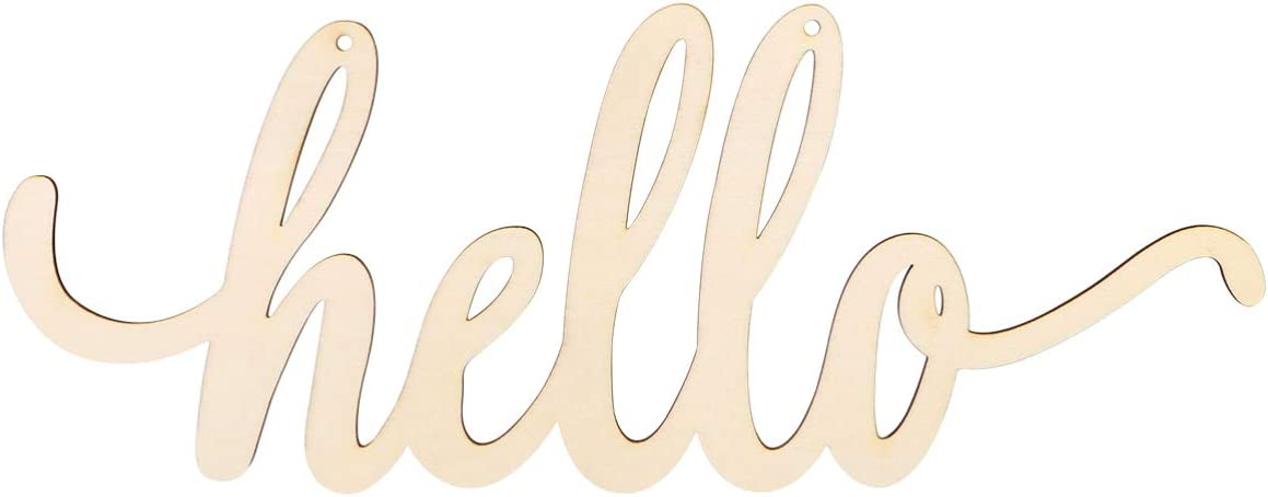 Vosarea Unfinished Wooden Hello Sign Beautiful Hello Sign Decor for Wreath Home Front Door Wall Art Decoration, 13.7x5.5inch