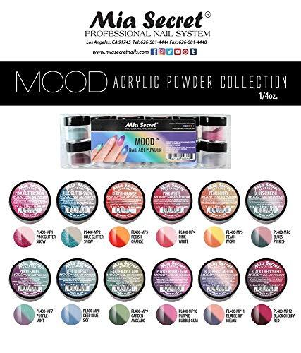 Mia Secret Color Changing Nail Powder MOOD Collection, Set of 12 colors, ¼ oz..