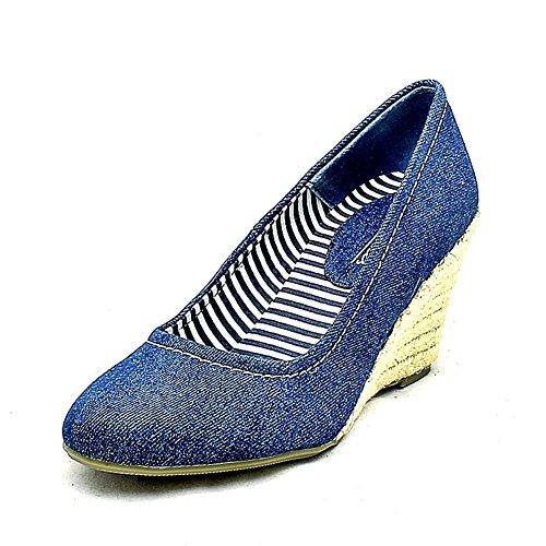 de cuña del redondo lona de señoras Blue dedo del zapatos las tacón pie de 6xax7npdw