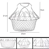 Foldable Steam Rinse Deep Fry Chef Basket, Mesh