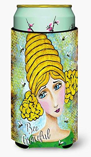 Caroline's Treasures VHA3008TBC Bee Grateful Girl With Beehive Tall Boy Koozie Hugger, Multicolor
