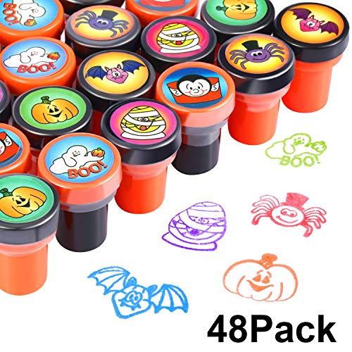 48 Pieces Halloween Stamps Self Ink Stamps Halloween Plastic Stamps for Kids Halloween Party Supplies