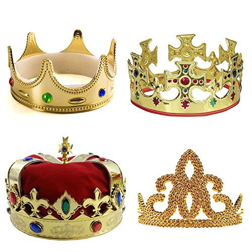 3 Kings Costume (Kings Crown - Royal King Crowns and Princess Tiara - Costume Accessories - (4 Pack) by Tigerdoe)