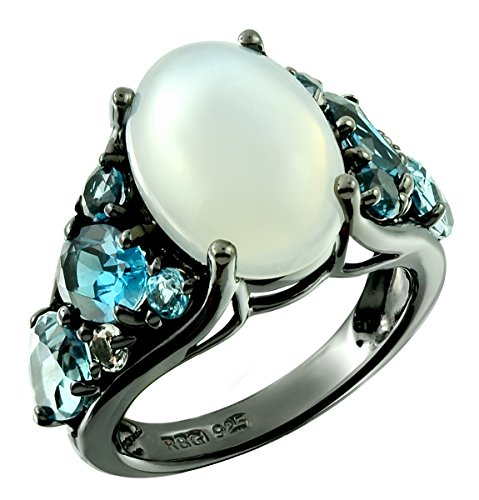 Blue Moonstone Ring (Sterling Silver 925 Ring WHITE MOONSTONE and LONDON BLUE TOPAZ 9.98 Cts with Black-Rhodium-Plated Finish (5))