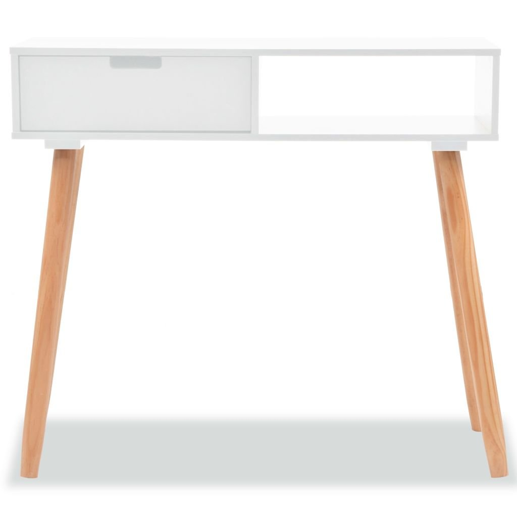 Festnight Modern Entryway Console Table Sofa Side Table for Entryway Living Room Bedroom, Solid Pinewood White by Festnight