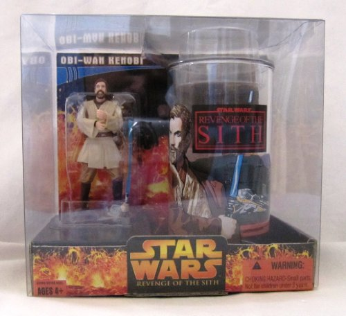 Star Wars Revenge of the Sith Target Exclusive Obi-Wan Kenobi Collector's Glass with Special 3 3/4 Inch Action Figure