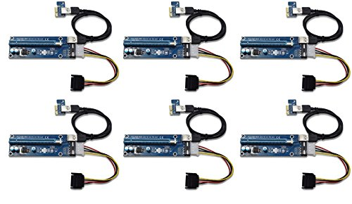 Panto Version 6 4-Pin MOLEX Powered PCI-E PCI Express Riser - VER 006S - 1X to 16X PCIE USB 3.0 Adapter Card - With USB Extension Cable - GPU Graphic Card Crypto Currency Mining (6 pack)