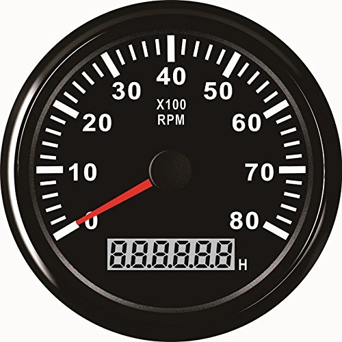 ELING Tachometer RPM Gauge with Hour Meter for Car Truck Boat Yacht 0-8000RPM 85mm with Backlight by ELING
