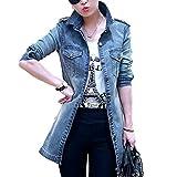 LISASTOR Women's Slim Lapel Long Sleeve Denim Jacket Coat With Pockets...