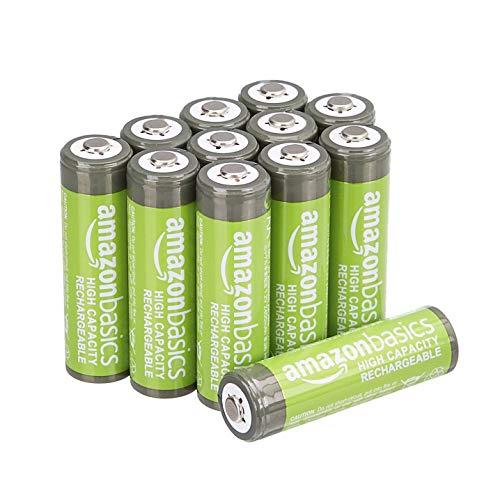Amazon Basics – AA-Batterien mit hoher Kapazität, wiederaufladbar, 2400 mAh, 12 Stück, vorgeladen