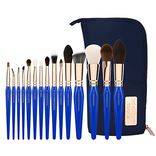 Bdellium Tools Professional Makeup Brush Golden Triangle Phase II - 15 pc. Brush Set with Stand-Up Pouch