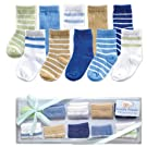 Luvable Friends 10-Piece Baby Socks Gift Set, Blue, 0-9 Months