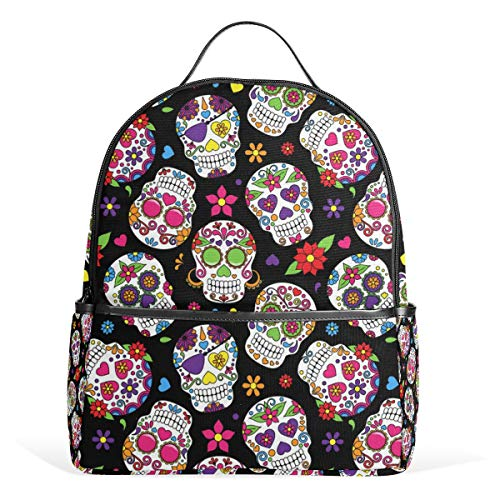 Wamika Sugar Skull Flowers Rose Daisy Backpack Bookbags Daypack Bags Water Resistant, Mexican Day of The Dead Skull Love Heart Bag Mini Backpack Purse Travel Sports for Men Women]()