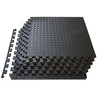 ProSource fs-1908-pzzl Colchoneta para ejercicios de espuma EVA con enclavamiento de azulejos (negro, 24 pies cuadrados)