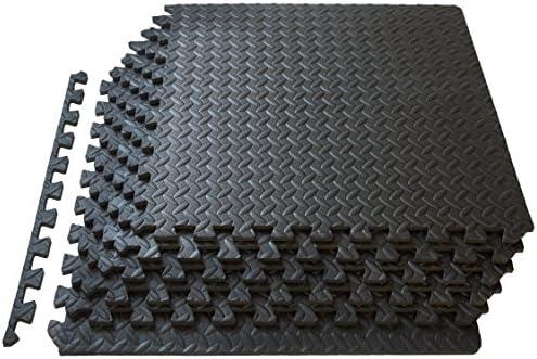 ProSource Esterilla de Ejercicio Estilo Rompecabezas con Mosaicos Encajables de Espuma EVA de Alta Calidad, Cubre 2.2 m², Negro 3