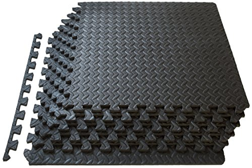 ProSource fs-1908-pzzl Puzzle Exercise Mat EVA Foam Interlocking Tiles (Black, 24 Square Feet) (Best Flooring For Basement Workout Room)