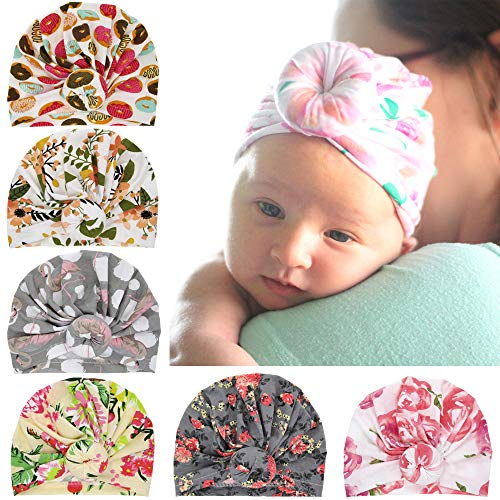 (Baby Hats,Hats for Baby Girls and Boys, Toddlers Soft Turban Knot Cap)