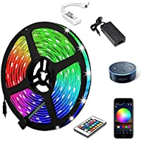 Aptech RGB LED Light Strips with Remote, Dimmable LED Rope Lights, 300LED 5050, IP65 Waterproof WiFi Strip Lights…