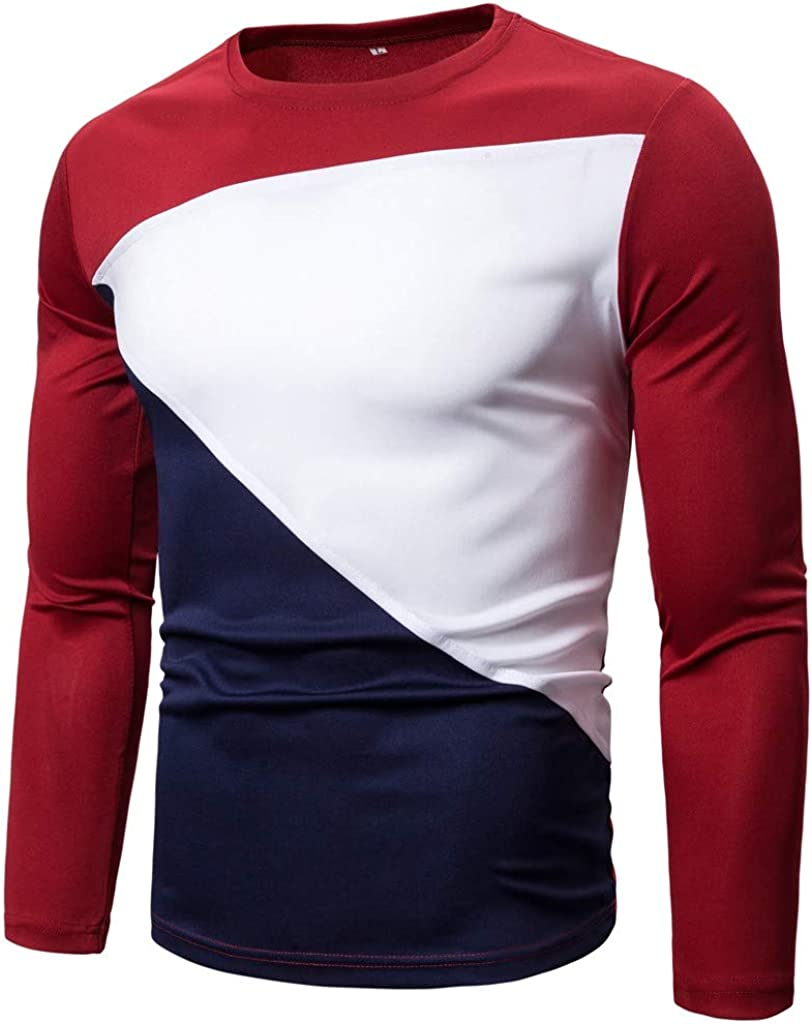 VOWUA Tops for Mens Sport Breathable Comfy Pure Color O-Neck Slim Splicing Long Sleeve Shirt Blouse Top