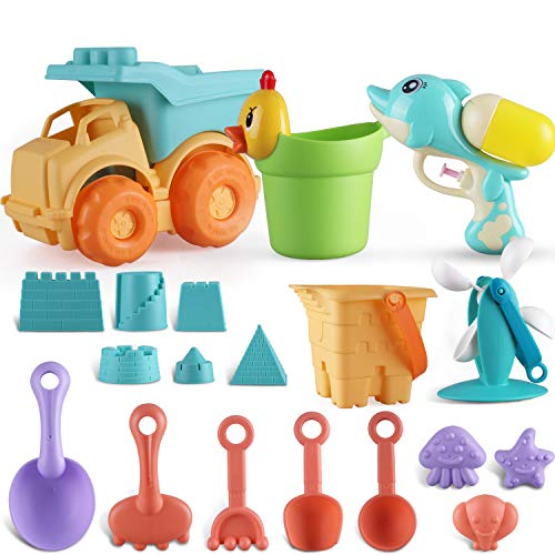 Parts3A Beach Toys Set for Kids,Beach Pail Set with Molds Bucket and Soft Plastic Pool Toy Set