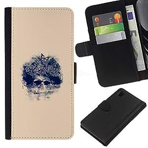 All Phone Most Case / Oferta Especial Cáscara Funda de cuero Monedero Cubierta de proteccion Caso / Wallet Case for Sony Xperia Z1 L39 // Afro Floral Skull - Pop Art