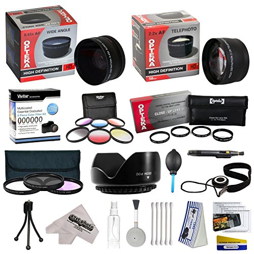 25 Piece Advanced Lens Package For The Panasonic Lumix DMC-FZ100 DMC-FZ40 & DMC-FZ45 Digital Cameras Includes 0.43X HD2 Wide Angle Panoramic Macro Fisheye Lens + 2.2x HD AF Telephoto Lens + 3 Piece Pro Filter Kit (UV, CPL, FLD) + 6 Piece Multi-Colored Graduated Filter Set + 5 PC Close-Up Set (+1, +2,+4 with 10X Macro Lens) + Flower Lens Hood + Tube Adapter + Deluxe Lens Cleaning Kit + 5PC Lens Cleaning Pen + Snap On Lens Cap + Air Blower Cleaner + Lens Cap Keeper Holder + LCD Screen Protectors +