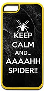 Keep Calm and AHHHH SPIDER!!! - Iphone 5C plastic YELLOW case - compatible with iPhone 5C only - CHOOSE YOUR COLOR