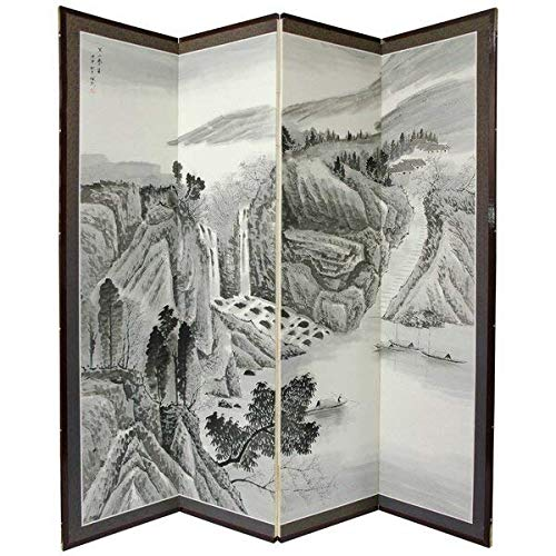 0.625' Rod - Bloomsbury Market 4 Panel Mountain Wood and Silk Covered Paper Room Divider + Free Basic Design Concepts Expert Guide