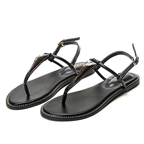 Student Black Women's Clip Sandals Size T Wild buckle Large Flat Toe Summer Heel Shoes With Shangyi Roman qnHaxwRZv
