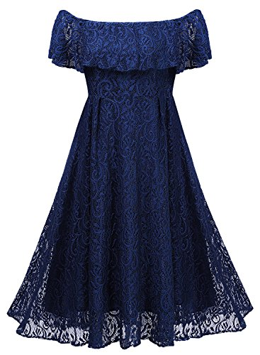 Arolina Womens 1950's Vintage Floral Lace Retro Party Cocktail Formal Off Shoulder Swing Dresses