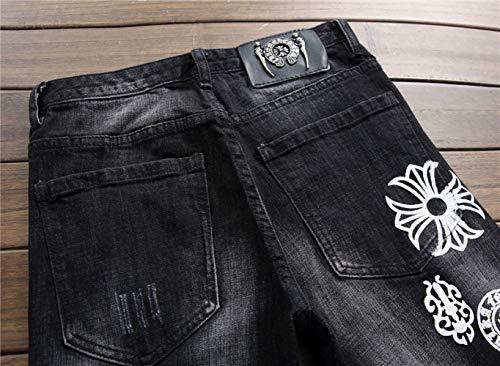 Juventud Personalidad Vaqueros De Los Los Tendencia A De Mediana Puño De Blancos La La Los WJP Fundamentos Imprimen Altura del La De De Hombres De Pantalones Delgada Mediana Los Edad Negro Pantalones HYEHUwq8