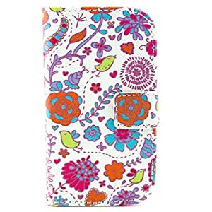 TJA Flower Birds Design Wallet PU Leather Stand Flip Case Cover for Samsung Galaxy S3 III Mini i8190