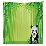 Animal Decor Tablecloth Panda in a Bamboo Forest Summertime Decorating Tropical Asian Nature Theme Picture Dining Room Kitchen Rectangular Table Cover Green Black White