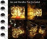 6 pack solar mason jar lights, 20 led string fairy firefly lights lids insert for regular mouth