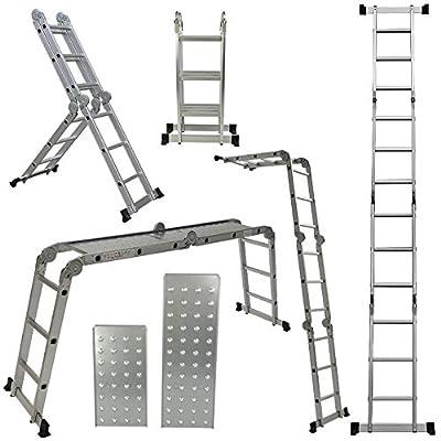 ARKSEN 12.5FT Aluminum Ladder EN131 Platform Multi-Purpose extension Folding Multi-Task Light Weight (w/ 2 FREE Plate)
