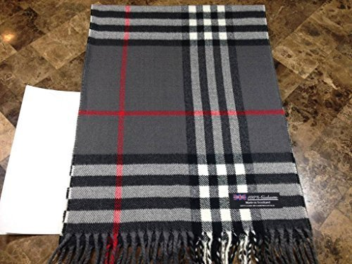 100% CASHMERE Warm Wool Scarf Gray Black SCOTLAND B72 Men Women Infinity Loop