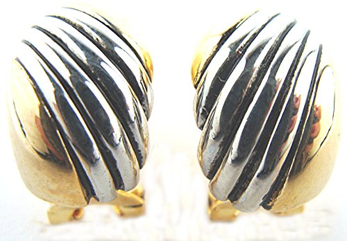 - Silver & Gold Finish Half Hoop Omega Clip Earrings Gift Boxed