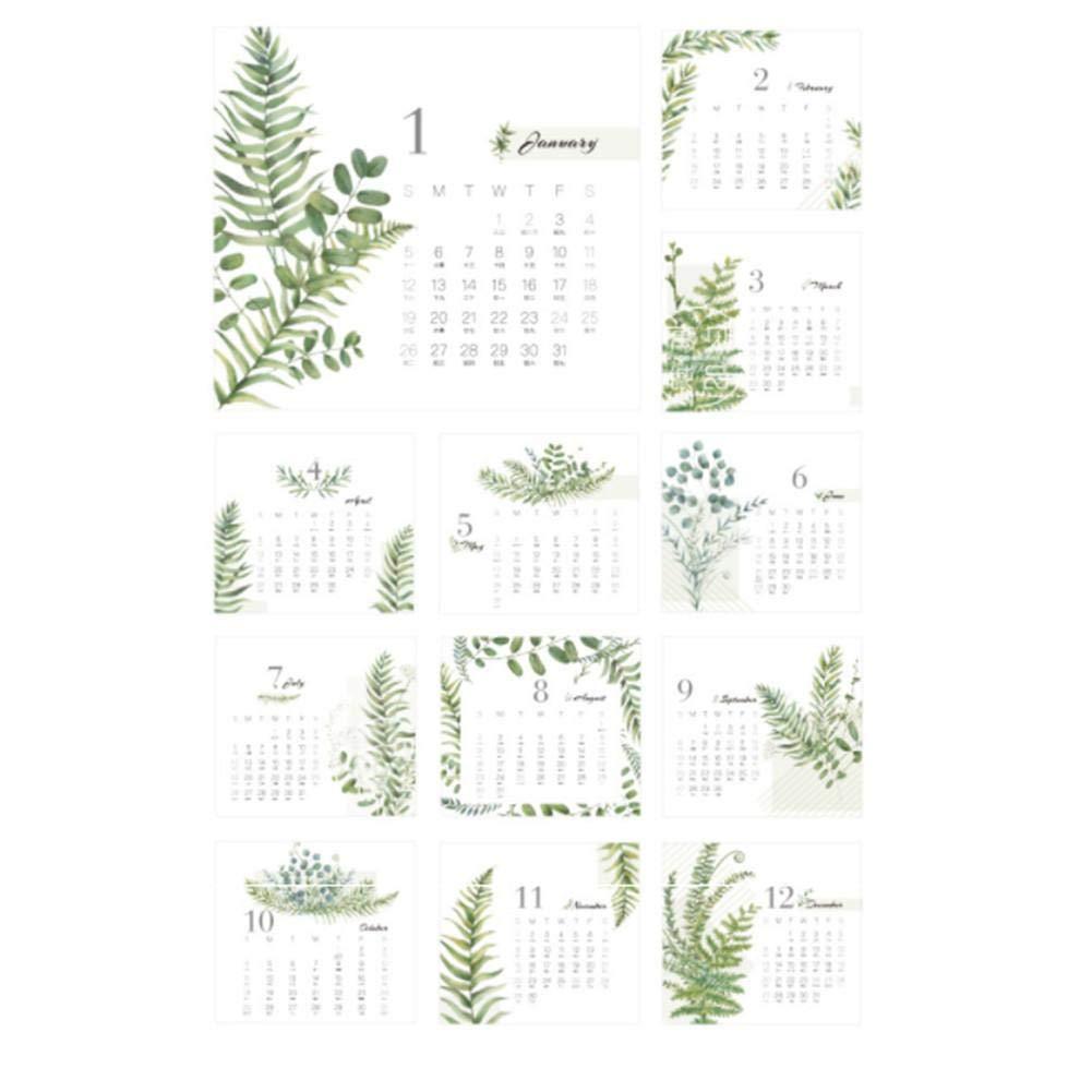 2020 Anno accademico Calendario mensile da tavolo Calendario creativo Memo Calendario fai-da-te con adesivo Emoji per insegnante di ufficio scolastico 15x16cm