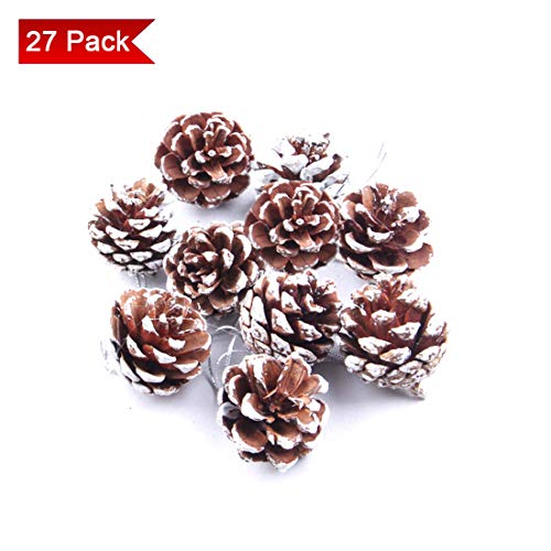 27 Pieces Christmas Pine Cones Ornament, Hanging Pinecone Pendant Crafts for Xmas Tree, Centerpieces, Party Home Garden Hanging Decoration ()