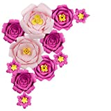 PaperLanternStore.com 12-Pc Combo Giant Pink / Fuchsia Peony Paper Flower Backdrop Wall Decor for Large Weddings, Photo Shoots, Birthday Parties and More