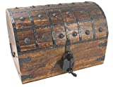 WellPackBox Wooden Pirate Treasure Chest Box With Antique Style Lock And Skeleton Key (Extra Large)