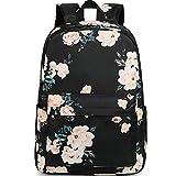 School Backpack for Teen Girls Floral Laptop Book Bag Travel Daypacks (Black-0066)