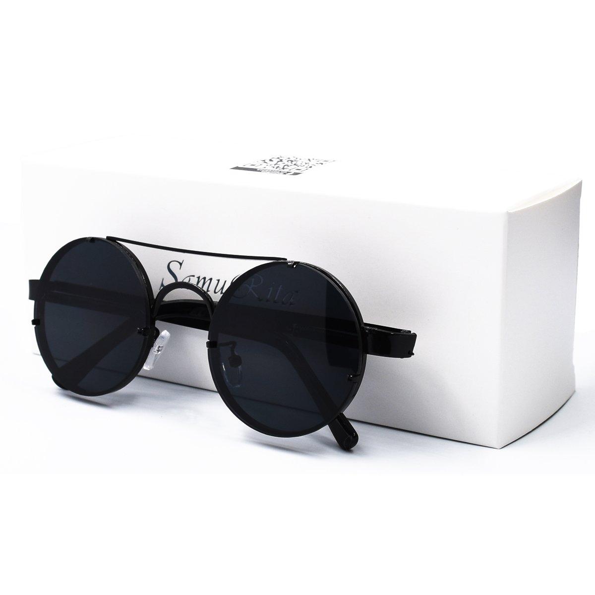 f41d8b846a6be Amazon.com  SamuRita Spring Temple Rimless Oversized Punk Round Sunglasses(Black  Lens Black Frame)  Clothing
