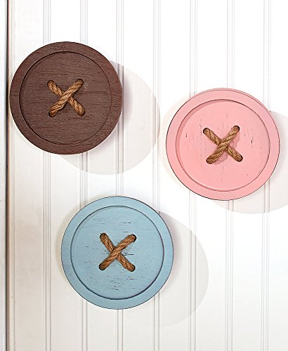 The Lakeside Collection Set of 3 Button Wall Hooks