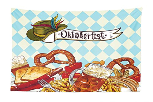 Lunarable Oktoberfest Tapestry, Bread Pretzel Carnival Partying Germany Costume Cheerful Festival Illustration, Fabric Wall Hanging Decor for Bedroom Living Room Dorm, 45 W X 30 L inches, Multicolor