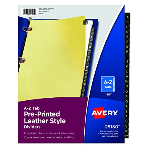 Az Leather Look Tab Dividers (Avery Leather Preprinted Dividers with A-Z Tabs, Black, 25-Tab Set (25180))
