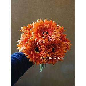 Sweet Home Deco 13'' Silk Artificial Gerbera Daisy Flower Bunch (W/ 7stems, 7 Flower Heads) Home/Wedding (Orange) 2
