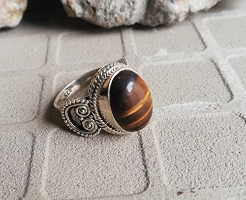 Tiger Eye Ring, 925 Sterling Silver, Granulation Ring, Original Handmade, Cat Eye Ring, Ethnic Ring, Elegant Ring, Personalised Ring, New Pattern Ring, Strength Ring, Friendship Ring, US All Size Ring (Personalised Tiger)