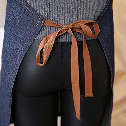 Aivtalk 71 En Réglable 65cm Licou Tablier Café Jeans Femme Longue Cuisine Pour Restaurant Denim 4xrw4n